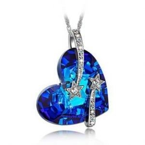 2. Shooting star Blue Heart Pendant Necklace