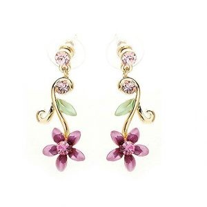 Purple flower brilliant pair hoops