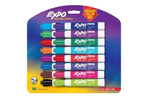 Expo Low-Odor Dry Erase Markers, Chisel Tip, Vibrant Colors, 16-Count