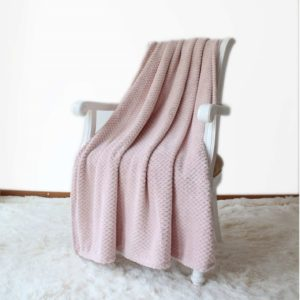 Simple & Opulence Solid Coral Jacquard Dot Velvet Throw Blanket, Pink